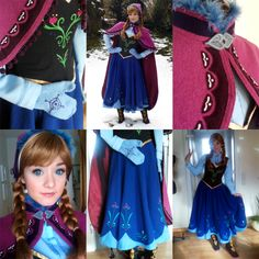Et voilà! The promised preview of my fininshed Anna costume from Disney's Frozen! When I first started working on this costume I was sure that it wouldn't take more than 4 weeks to complete it. I had completely underestimated the amount of detail on... Anna Costume, Holiday Costumes, Disney Cosplay, Character Costumes, Disney Princesses, Disney Frozen, Jr, Detail, Fashion