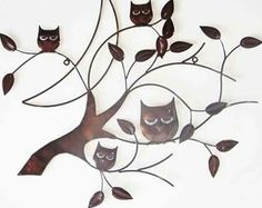 Bronze 4 owl branch metal wall art Stunning piece with a bronze brown style finish Easy to hang Measures approximately Contemporary Metal Wall Art, Owl Wall Art, Tree Wall Decor, Wall Decorations, Owl Tree, Copper Decor, Wise Owl, Tree Branches, Bronze