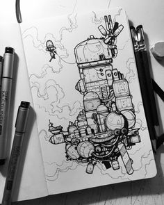 Illustrations for an imaginary age Ink Pen Art, Arte Indie, Spaceship Art, Boy Illustration, Robot Concept Art, Arte Sketchbook, Ex Machina, Cyberpunk Art, Sketchbook Inspiration