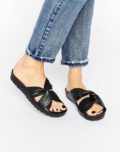 Vagabond Erie Black Leather Slide Flat Sandals