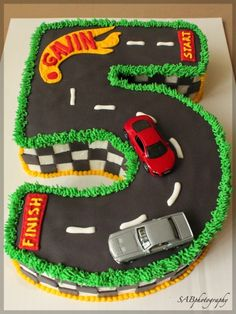 this pin is from Jens Pinterest Page she has Tons of good party boards........A cool cake for a hot wheels birthday!