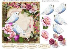 White Budgies Roses Topper Decoupage on Craftsuprint designed by Barbara Hiebert - This is a card topper with white budgies birds and roses for the decoupage,the sentiment tags say,Happy BirthdayBest WishesThank YouHappy Mother's Day - Now available for download!