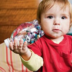 New Nostalgia: Fun Activities For Kids! Small watter bottle filled with water and small beads. Make sure you hot glue the top closed for the little ones.