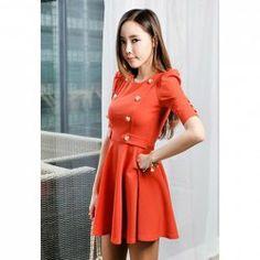 $8.93 Elegant Scoop Neck Solid Color Double-Breasted Embellished Flounce Cotton Blend Dress For Women