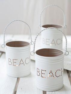 Beach Decor Ideas - Beach lanterns. DIY idea. Make this with cans.