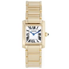 Pre-Owned Cartier Tank Francaise 18k Yellow Gold Ladies Watch W50002N2 (136,875 MXN) ❤ liked on Polyvore featuring jewelry, watches, kellot, no color, tri color gold bracelet, black watches, black dial watches, 18k gold watches and cartier watches