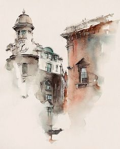 Architectural sketches 371687775477772821 - architecture 2 by Sunga Park, via Behance – – Travel Journal – Watercolour – Art – Sketch – Architecture – Mysterious Painting, at the corner of a Street. Watercolor City, Watercolor Sketch, Watercolor Landscape, Watercolour Painting, Watercolours, Watercolor Architecture, Architecture Drawings, Architecture Panel, Architecture Portfolio