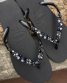 e3b1d833a7fe Crystal Flip Flops Beach Glass Black Silver Blue Havaianas Slim w  Swarovski  Rhinestone Ocean Sea Wedding Shoes Bling Jewels Bridal Slip on