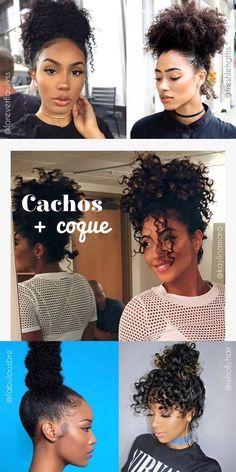 Penteados para cabelos cacheados dia a dia com coque - curly hairstyles with knot - ohlollas - cabelos naturais crespos ondulados