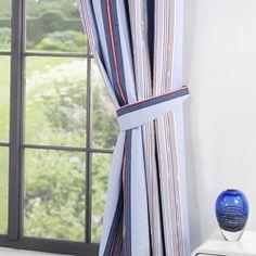 Stripey Blue Tie Backs