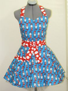 Sweetheart Hostess Apron  Cat in the Hat  Party by AquamarCouture, $37.00