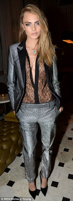 In demand: Cara's appearance at the London Fashion Week party comes two days after she walked at the New York shows