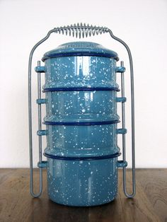 Vintage enamel food carrier tiffin by MarketHome on Etsy, $35.00