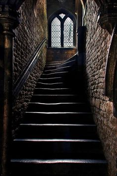 Eye For Design: Quaint And Elegant Stone Stairways Grand Stairway, Dark Castle, Building Stairs, Stone Stairs, Stairs Architecture, Gothic Architecture, Interior Architecture, Hallway Lighting, Dark Walls