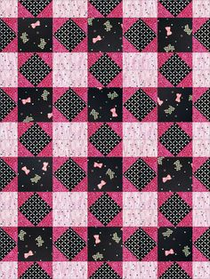 This beautiful easy to sew quilt kit of Scottie dogs will make 12 blocks that will finish 9 inches each. Scattered Scottie dogs, pink bows, circles and triangles over a jet black background. Pink vine