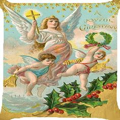 Cushion cover throw pillow case 18 inch retro vintage Christmas angels cross harp music instrument bell flower joyful celebration both sides image zipper ** This is an Amazon Affiliate link. Find out more about the great product at the image link.