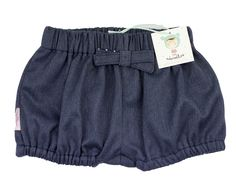 This soft denim pull-on bubble shorts with a detachable bow, is made of soft 100% cotton, elasticated waistband and leg gathers for easy on and off  are perfect for daily wear.Add a fancy tights to make it a year round outfit.For baby boys