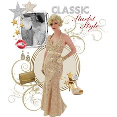 Classic Starlet Style-Sequined Gold Halter Style Mermaid Gown with ribbon embroidery and surplice wrap bodice Old Hollywood Style, Old Hollywood Glamour, Mermaid Gown, Ribbon Embroidery, Classic Style, Bodice, Style Inspiration, Gowns, Formal Dresses