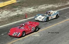 The factory Alfa Romeo T33/3 of Toine Hezemans and Masten Gregory leads the Martini Porsche 908/02 K of Richard Attwood and Gerard Larrousse.