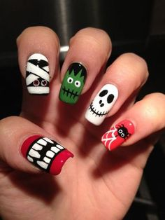 Halloween gives you some of the most creative options. On this holiday you probably want to look as scariest as possible, so beside a scary costume or mask, you must have an eye-catching nail design that will transform your hands into mini costumes, featuring some of the symbols of Halloween. Such symbols are spiders, bats, ghosts, skulls, monsters, pumpkins, blood drop designs etc. check out these great Halloween nail art designs!