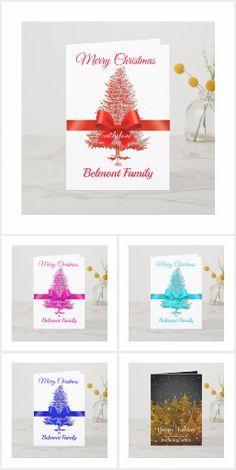 Holiday Tree, Holiday Cards, Christmas Holidays, Christmas Cards, Usa Holidays, Blue Forest, Folded Cards, Red White Blue, Ribbon Bows