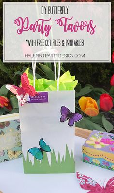 DIY Butterfly Party Favor | Halfpint Design - Cute little favor bag with butterfly printables and free SVG cut files!