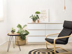 $249 |120cm wide x 40cm deep x 73cm tall | Mocka Jolt Six Drawer - Wide with Asta Armchair