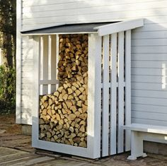 outdoor firewood rack - Check out these super easy DIY outdoor firewood racks. You can store your wood clean and dry and it allows you to buy wood in bulk, saving you money.