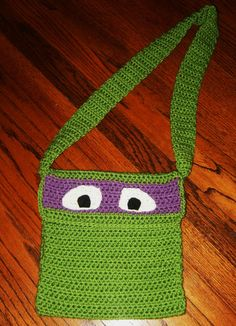 Crocheted Teenage Mutant Ninja Turtle Crossover Purse