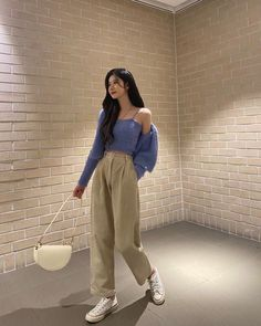 Korean Casual Outfits, Korean Outfit Street Styles, Cute Casual Outfits, Simple Outfits, Pretty Outfits, Stylish Outfits, Korean Style, Korean Girl Fashion, Ulzzang Fashion