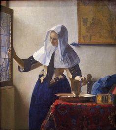 Johannes Vermeer Young Woman with a Water Jug painting, oil on canvas & frame; Johannes Vermeer Young Woman with a Water Jug is shipped worldwide, 60 days money back guarantee. Johannes Vermeer, Rembrandt, Vermeer Paintings, Oil Paintings, Dutch Painters, Dutch Artists, Famous Artists, Art Plastique, Art History