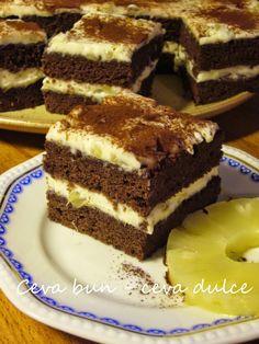 Adela Zilahi: Prajitura cu crema mascarpone si ananas Romanian Desserts, Romanian Food, Cake Recipes, Dessert Recipes, Vanilla Sponge Cake, Food Cakes, Cake Cookies, Tiramisu, Sweet Treats