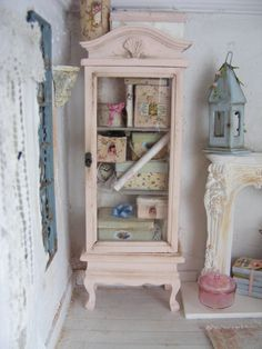 12th scale shabby chic cabinet filled with an assortment of storage boxes-dolls house on Etsy, $104.46 AUD