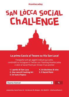 San Lòcca Social Challenge: una caccia al tesoro fotografica su Instagram e Twitter. Domenica 12 ottobre in Via San Luca a #Bologna. #sanloccaday