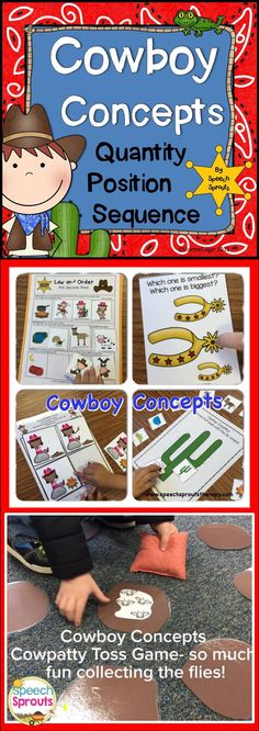 $ Quantity, Position and Sequence Basic Concepts with these fun Cowgirl and Cowboy activities! Target vocabulary concepts in speech therapy critical for comprehension and following classroom directions. Western Activities/ Speech and Language