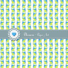 Flowers  Light Blue  Yellow  Digital Paper  by blossompaperart, $1.30