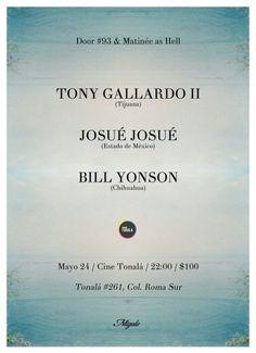 Este 24 de mayo tendremos un evento en el Cine Tonalá -ya famoso por su buena acústica- en el que se estarán presentando tres actos muy interesantes de nuestro país. Tenemos a Bill Yonson (artista que conocimos después de una buena actuación en el Festival Antes) quien con su álbum debut y homónimo se hizo [...]