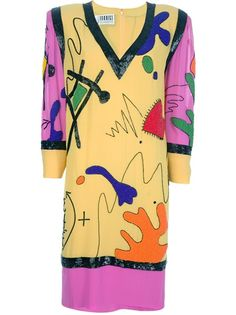 1980s silk dress from Fabrice featuring a plunge V-neck, a multicoloured amoeba, math equations and squiggles abstract print, coloured bead detailing, padded square shoulders, a loose fit and loose three quarter length sleeves.