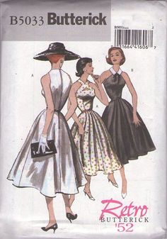 Butterick 5033 Retro 2007 Sewing Pattern SIZZLING Retro Retro 1952 50s Rockabilly Peekaboo Keyhole Cutaway Arm Halter Neck Cocktail Party Dress, Summer Gown Set