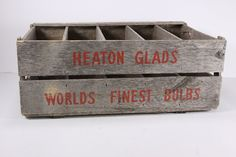 Heaton Glads Gladiola Worlds Finest Bulb Wooden Crate Primitive Rustic Shelving