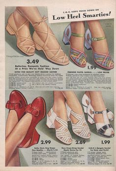 Summer 1942 Sale - Chicago Mail Order Company | VintageStitches.com | Shoes shoes beautiful shoes!