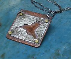 Copper & Sterling Silver Framed Hummingbird by MaggiesMeltdown, $55.00 Jewelry Boards, Metal Jewelry, Pendant Jewelry, Jewelry Ideas, Jewelry Design, Unique Jewelry, Copper Art, Riveting, Cutwork
