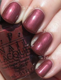 I Knead Sour-Dough is a brownish red with red shimmer. I doesn't look like much in the bottle but it's very pretty on the nail. It's one of those ugly/pretty shades.   OPI Fall 2013 San Francisco Collection Swatches