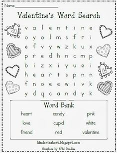 day activities The perfect little activity for the craziness surrounding Valentines Day! Great for morning work, a station, or for a fun class activity! Valentines Word Search, Valentines Day Words, Kinder Valentines, Valentines Day Activities, Valentines Day Party, Holiday Activities, Valentine Day Crafts, Be My Valentine, Heart Day