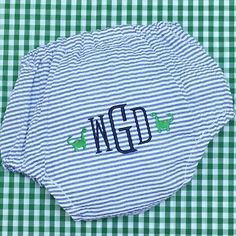 """Sweet, seersucker diaper cover for a new baby boy!  Perfect over a onesie or, for the traditional Southerners, under a """"diaper shirt"""". #sewsewswell #seersucker #embroidery #monogrameverything #babygift #babybloomers #diapercover #southernbaby #babyclothes @classic_bride @mintsweetlittlethings @apexemb"""