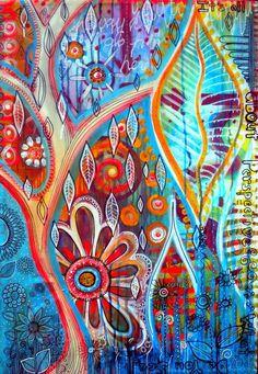 Toile a peindre Doodle Canvas, Canvas Art, Art Journal Pages, Art Journals, Color Of Life, Art Journal Inspiration, Mixed Media Art, Decoupage, Collage Art