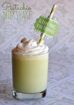 Pistachio Milkshake Recipe for St Patricks Day
