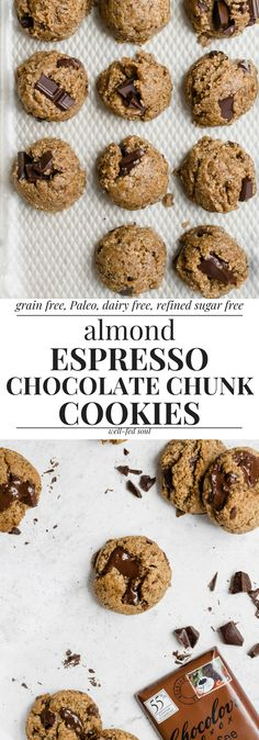 Paleo Almond Espresso Chocolate Chunk Cookies | Well Fed Soul