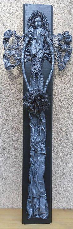 ednahandmade / Antracitový anjel na dreve