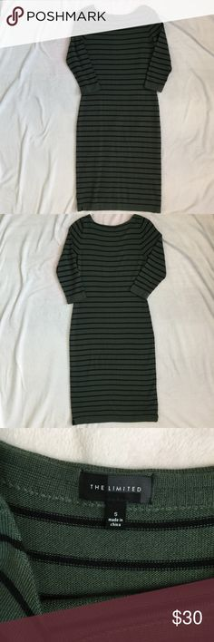 """The Limited Sweater Dress The Limited Sweater Dress  - Size: S  - Green with black stripes  - Pullover style  - 3/4 sleeves  - 50% wool, 50% acrylic  - Length from top of shoulder to bottom of dress 41""""  - Some wear, see small snag in last photo The Limited Dresses"""